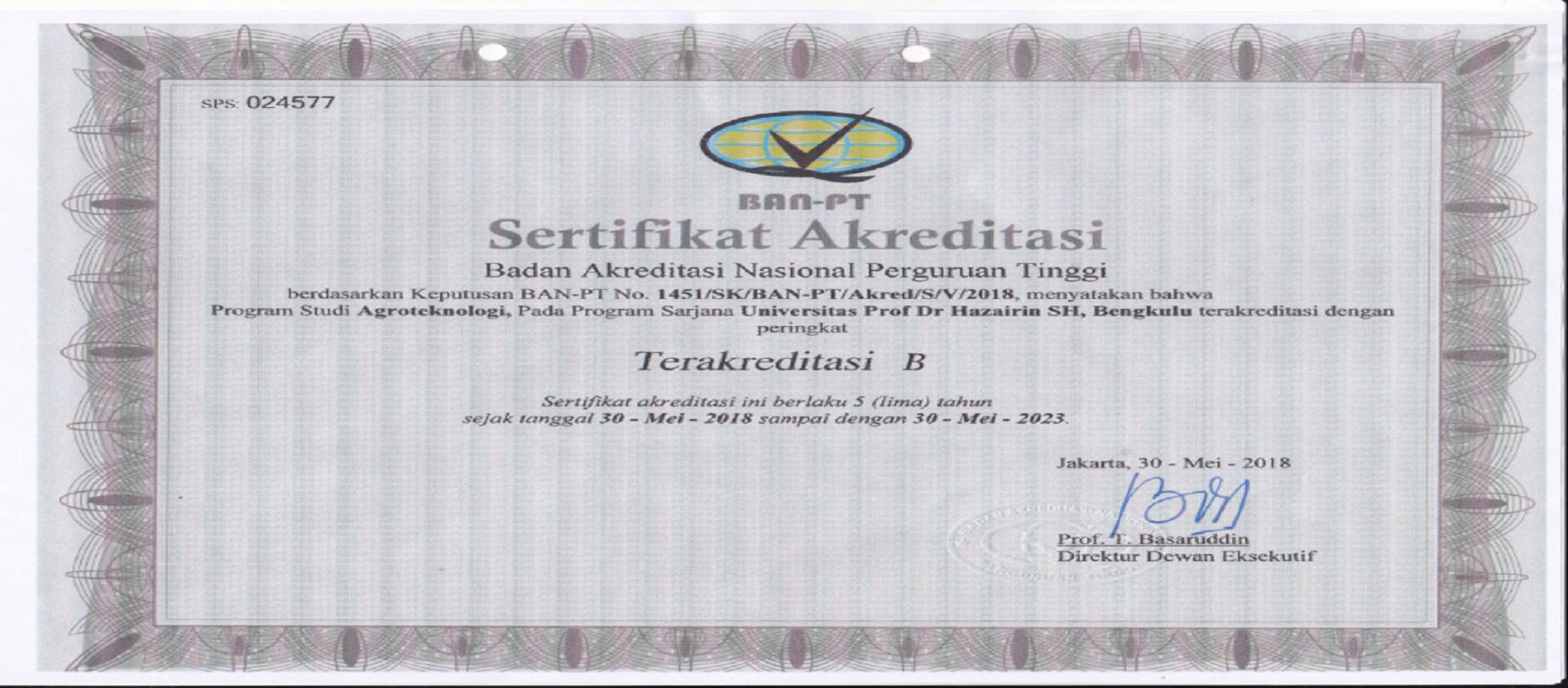 Prodi Agroteknologi terakreditasi B